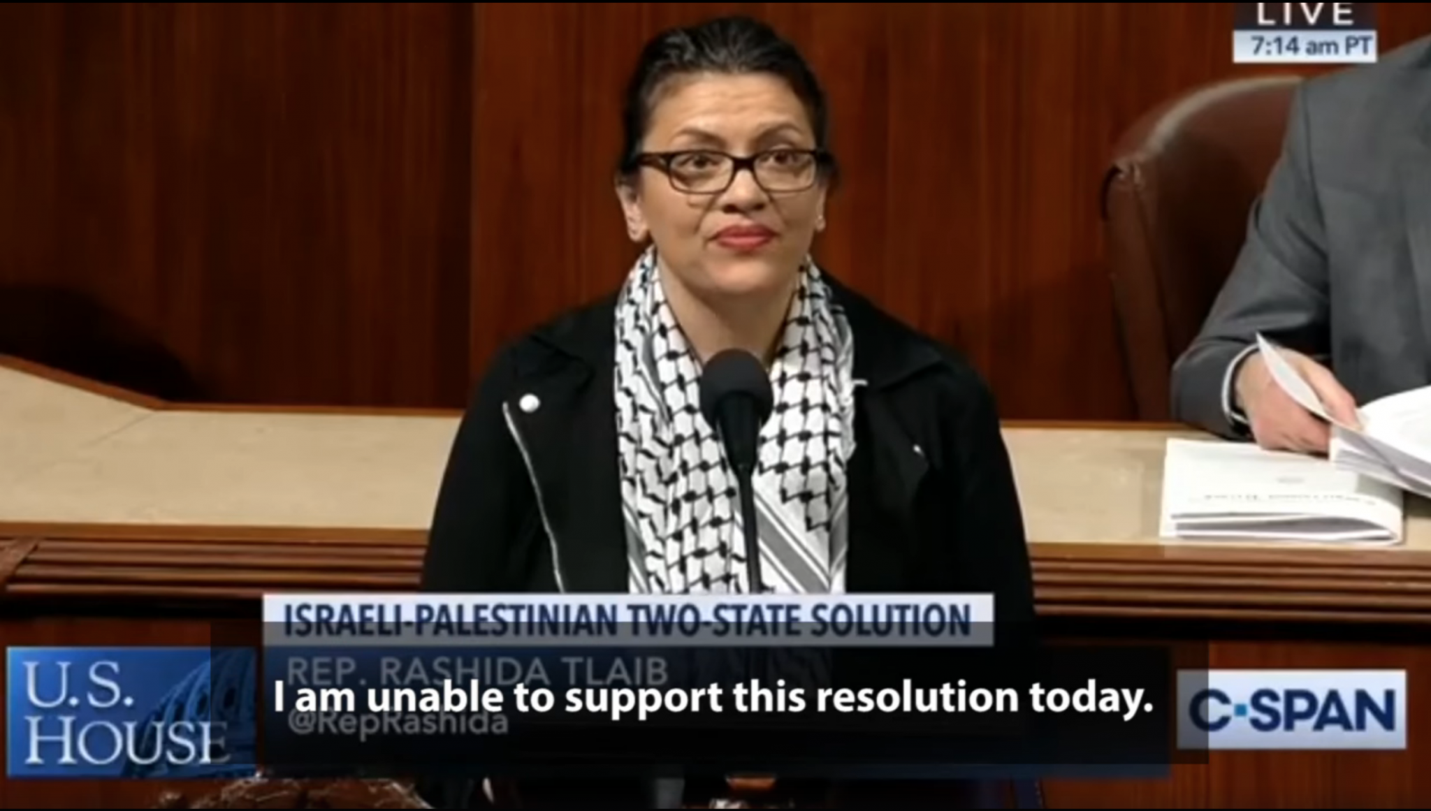 Rep. Rashida Tlaib delivering a speech on the House floor on December 6, 2019. (Snapshot of the C-SPAN video posted on Rep. Tlaib's Facebook account)