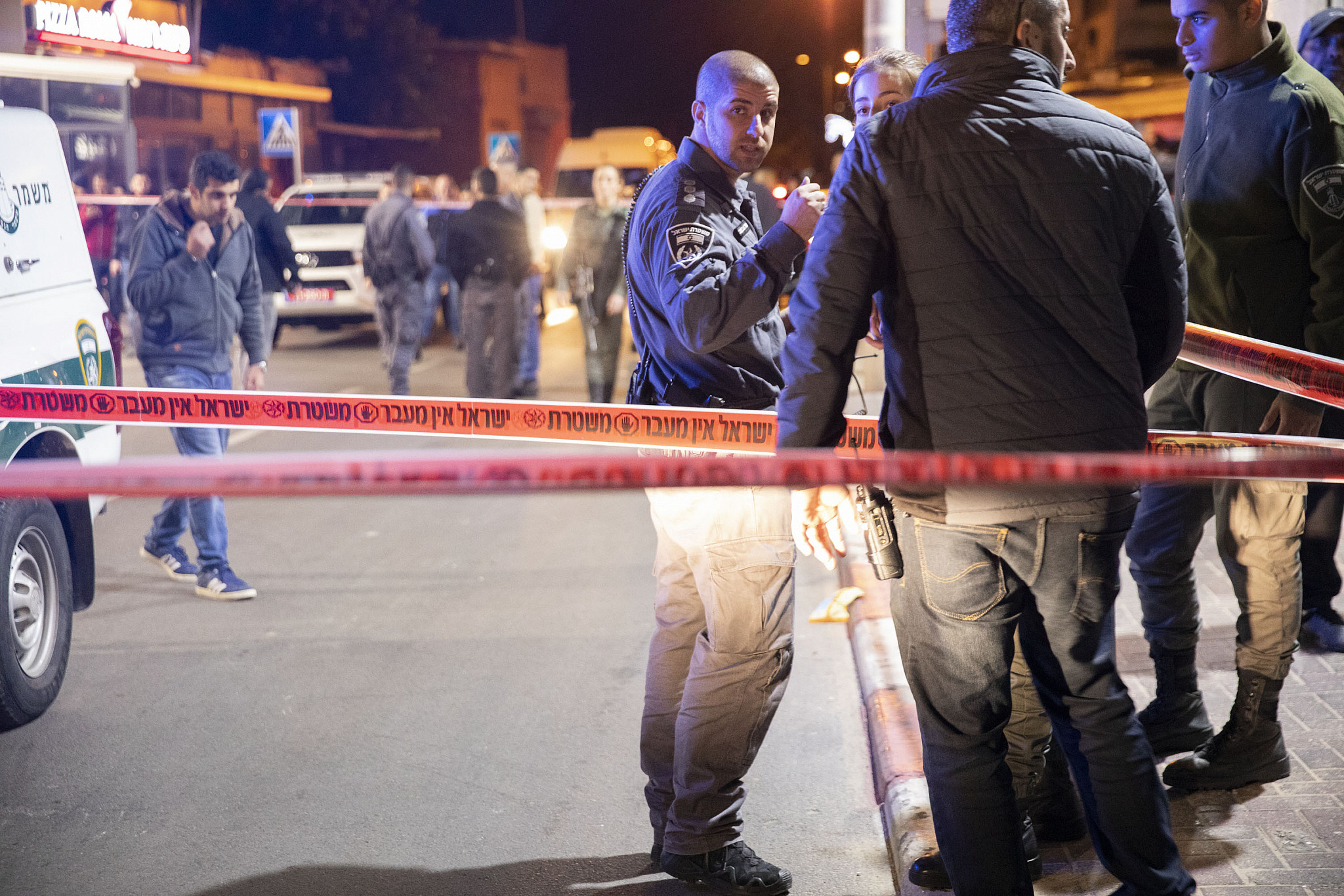 Scene of the murder of Ashraf Abu Qa'od, Jaffa, December 2018. (Oren Ziv/Activestills.org)