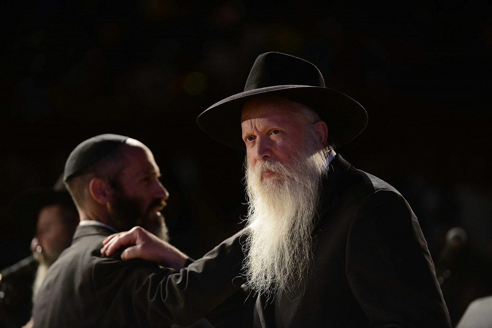 American-born Israeli rabbi Yitzchak Ginsburgh, president of the Od Yosef Chai Yeshiva in the settlement of Yitzhar, speaks at a Chabad conference in Tel Aviv, on December 02, 2015. (Tomer Neuberg / FLASH90)