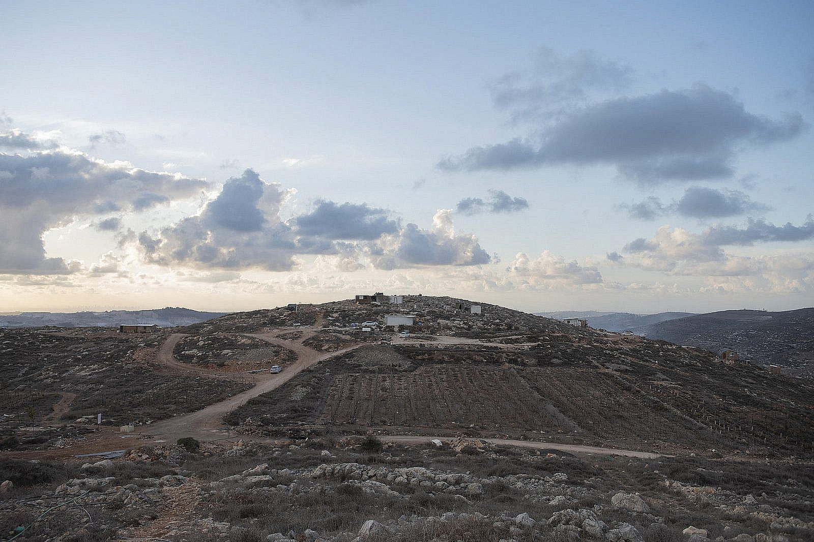 """View of the """"Komi Ori"""" outpost in the settlement of Yitzhar in the West Bank, on December 1, 2019. (Sraya Diamant/Flash90)"""