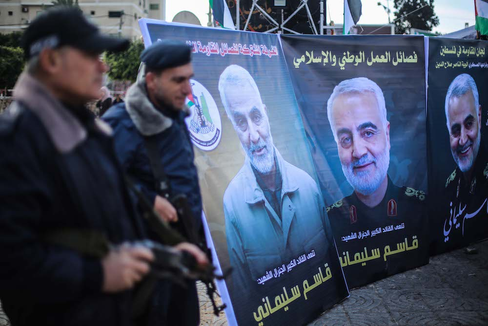 Palestinians guards seen next to a mourning tent in Gaza City for Revolutionary Guard Major-General Qassem Soleimani, who was killed in a U.S. drone strike, January 4, 2020. (Hassan Jedi/Flash90)