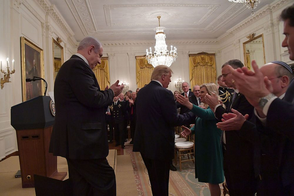 President Donald Trump and Prime Minister Benjamin Netanyahu seen at the White House in Washington DC, following Trump's unveiling of the U.S. 'peace plan.' January 28, 2020. (Kobi Gideon/GPO)