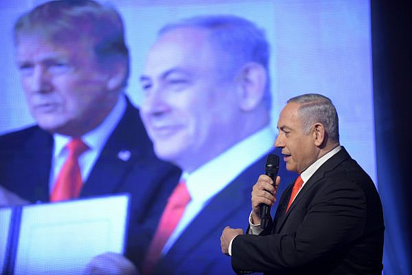 Israeli Prime Minister Benjamin Netanyahu delivers a speech at the Likud Party's election campaign opening event in Jerusalem, Jan 21, 2020. (Gili Yaari/Flash90)