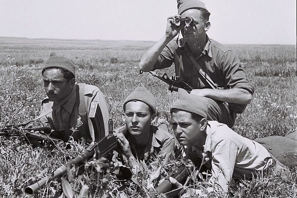 Members of the Haganah militia training in the Jeezrel Valley during the 1948 War in Palestine, March 3, 1948. (Zoltan Kluger/GPO)