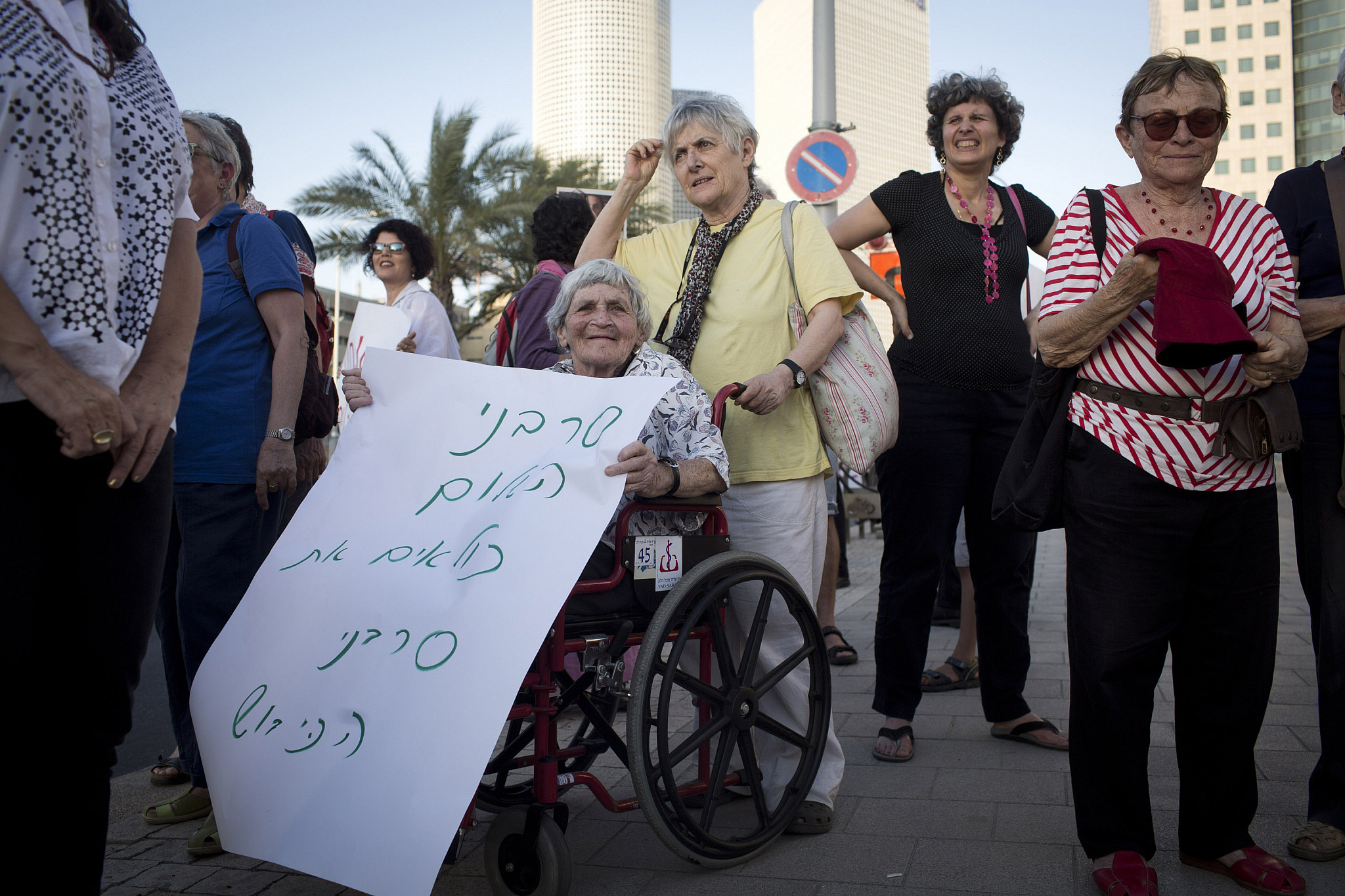 Image: Hava Geller at a solidarity protest with draft refuser Natan Blank, Tel Aviv, May 21, 2013. (Oren Ziv/Activestills.org)