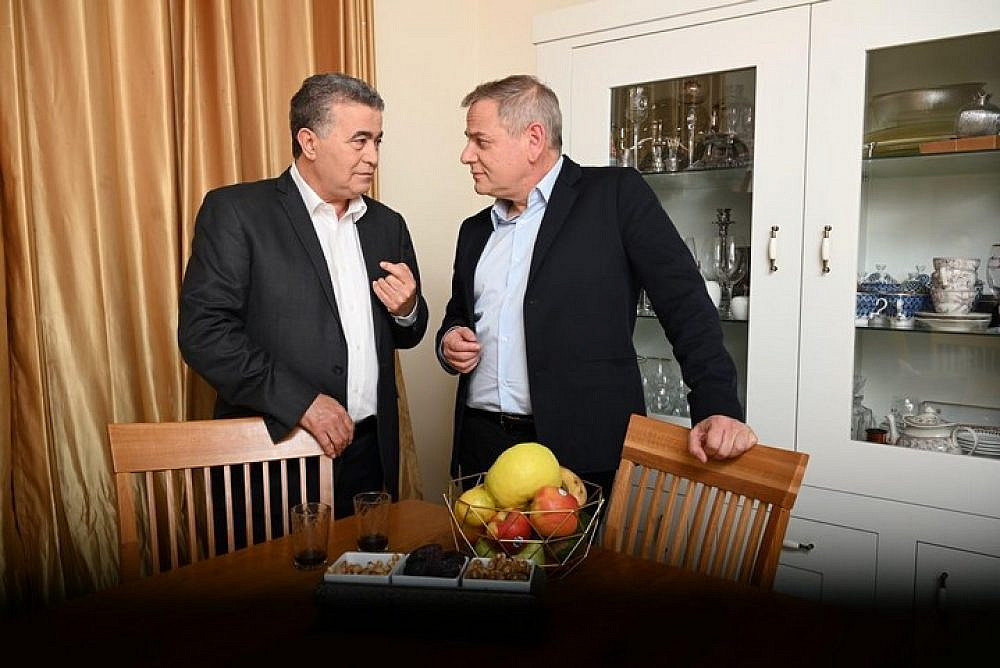 Labor Party head Amir Peretz (left) and Meretz Chairman Nitzan Horowitz. (Courtesy of Democratic Union)
