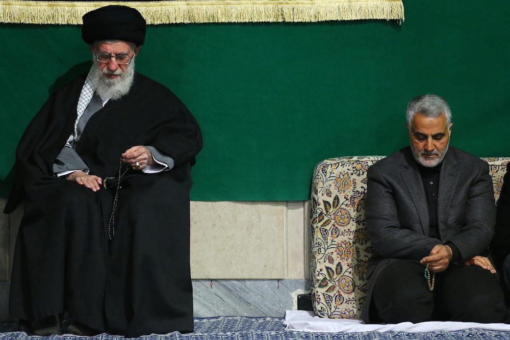 Ayatollah Ali Khamenei seen with Revolutionary Guard Major-General and commander of the Quds Forces Qassem Soleimani, 2015.