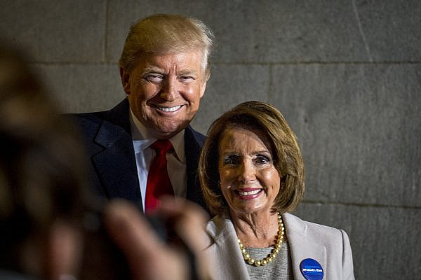 President-elect Donald J. Trump and U.S. Speaker of the House Nancy Pelosi smile for a photo during the 58th Presidential Inauguration in Washington, D.C., Jan. 20, 2017. (U.S. Air Force Staff Sgt. Marianique Santos/Department of Defense)