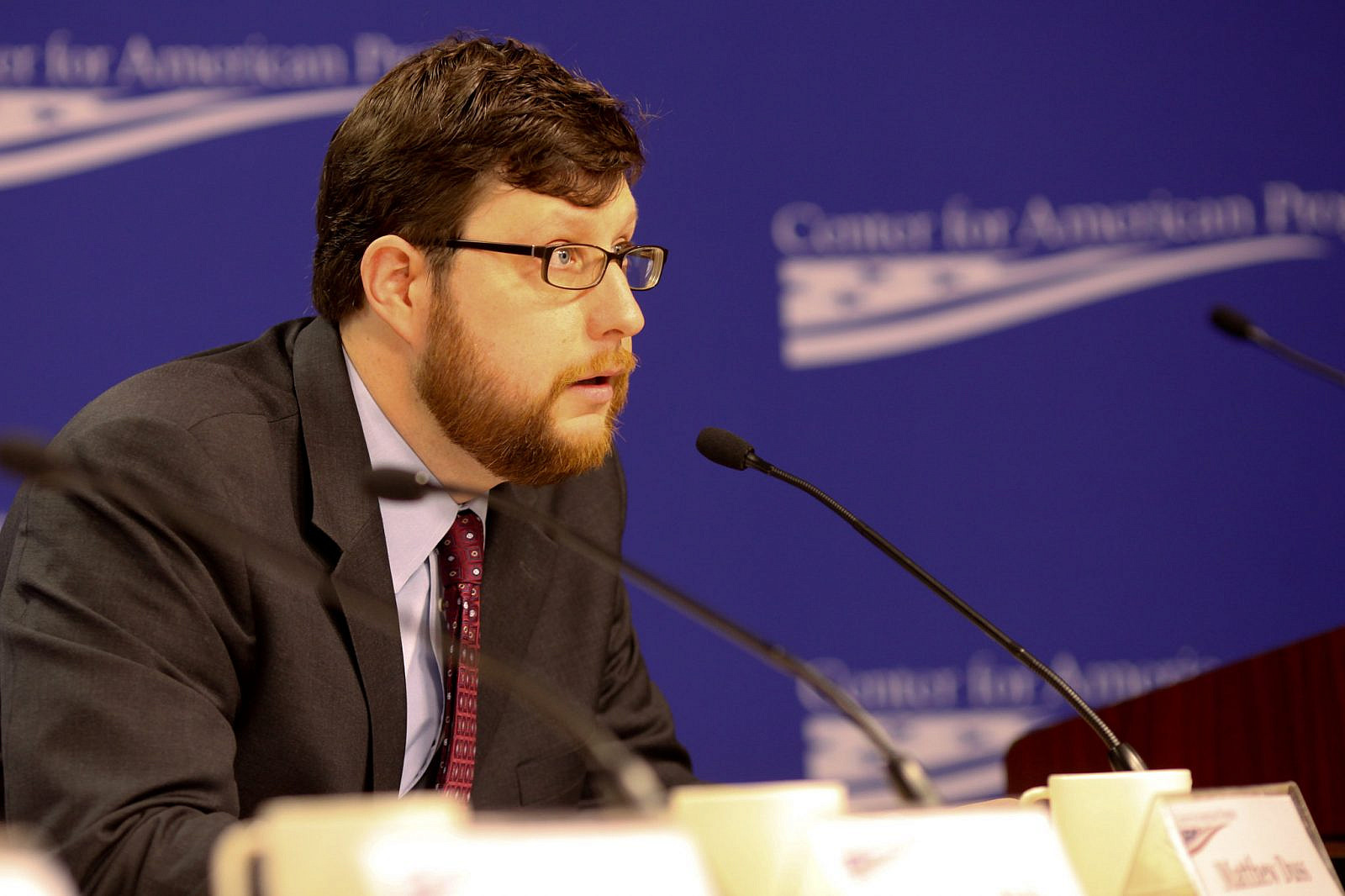 Matt Duss as an analyst with the Center for American Progress, speaking at event hosted by the Century Foundation and the National Security Network. April 14, 2010. (Center for American Progress/Flickr)