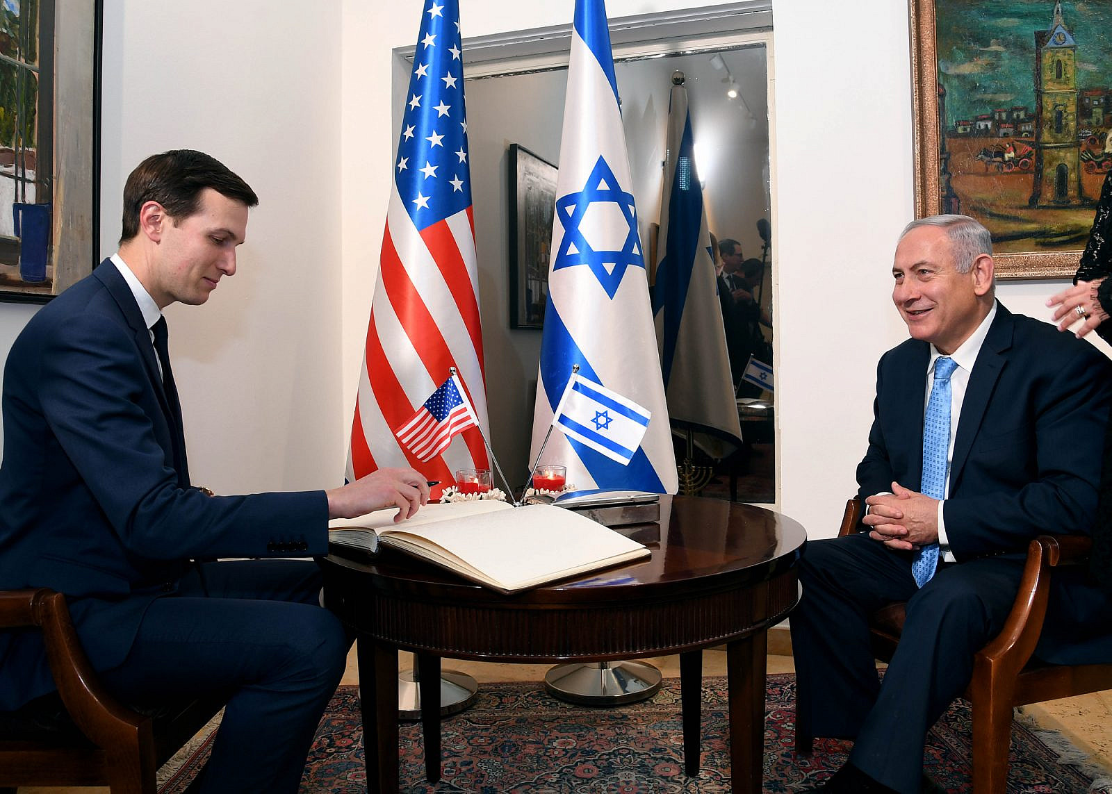 U.S. special advisor Jared Kushner and Israeli Prime Minister Benjamin Netanyahu at the dedication ceremony of the U.S. embassy in Jerusalem. (Wikimedia)