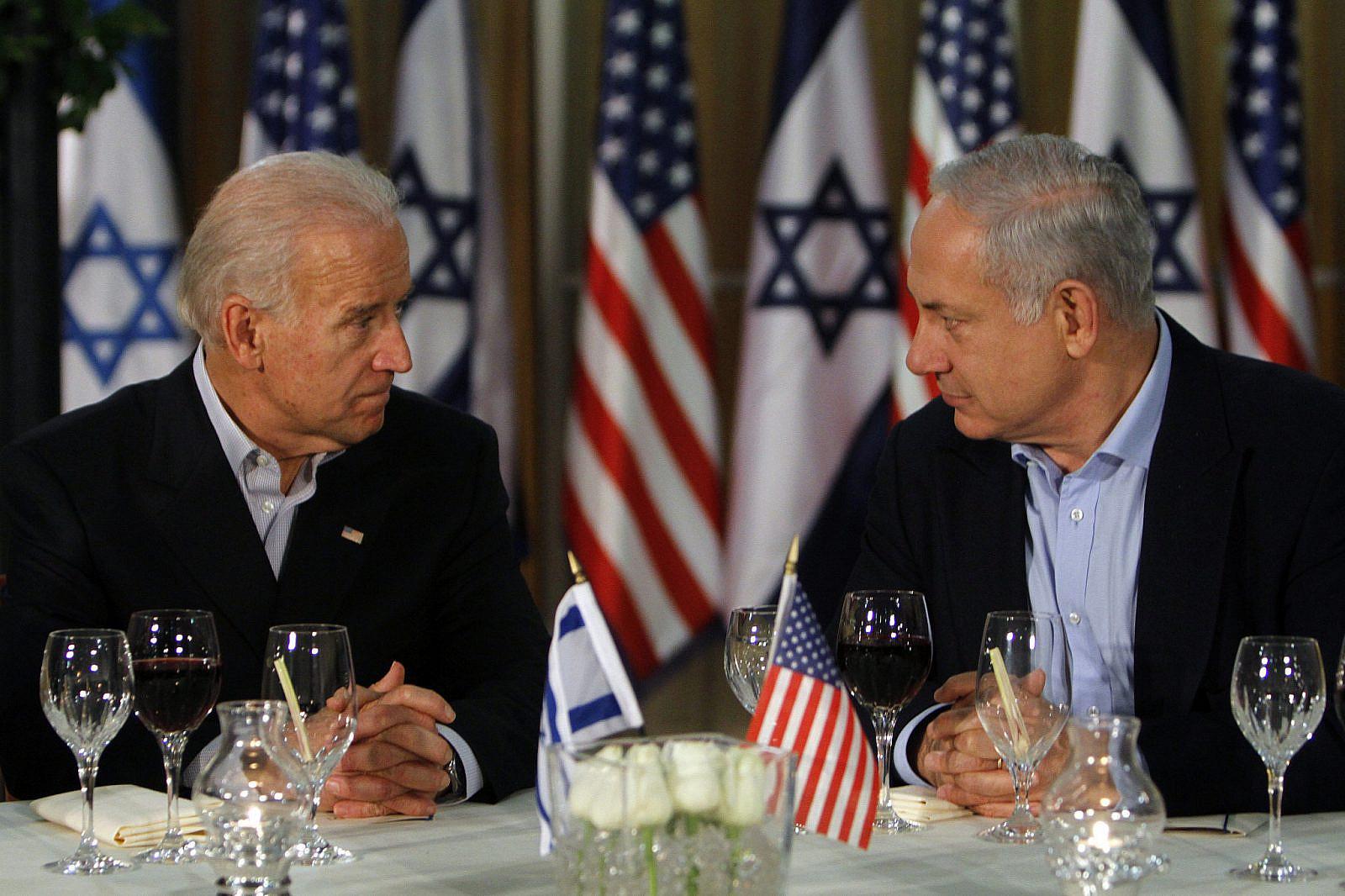U.S. Vice President Joe Biden and Israeli Prime Minister Benjamin Netanyahu attend a dinner at the Prime Minister's residence in Jerusalem on March 09, 2010. (Miriam Alster/FLASH90)