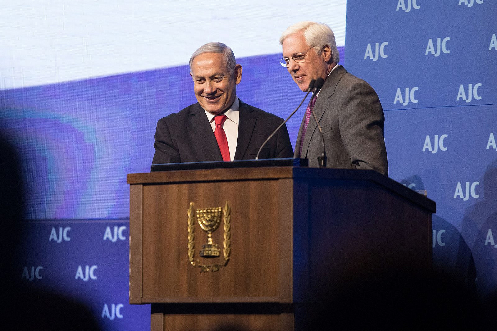 Prime Minister Benjamin Netanyahu speaks at the American Jewish Committee (AJC) Global Forum, in the Jerusalem Convention Center, on June 10, 2018. (Noam Revkin Fenton/Flash90)