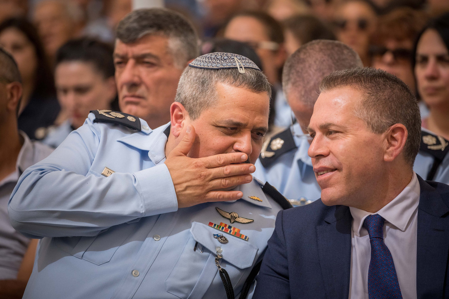Minister of Public Security Gilad Erdan seen with Israeli Police Chief Police Roni Alsheikh on September 5, 2018. (Yonatan Sindel/Flash90)