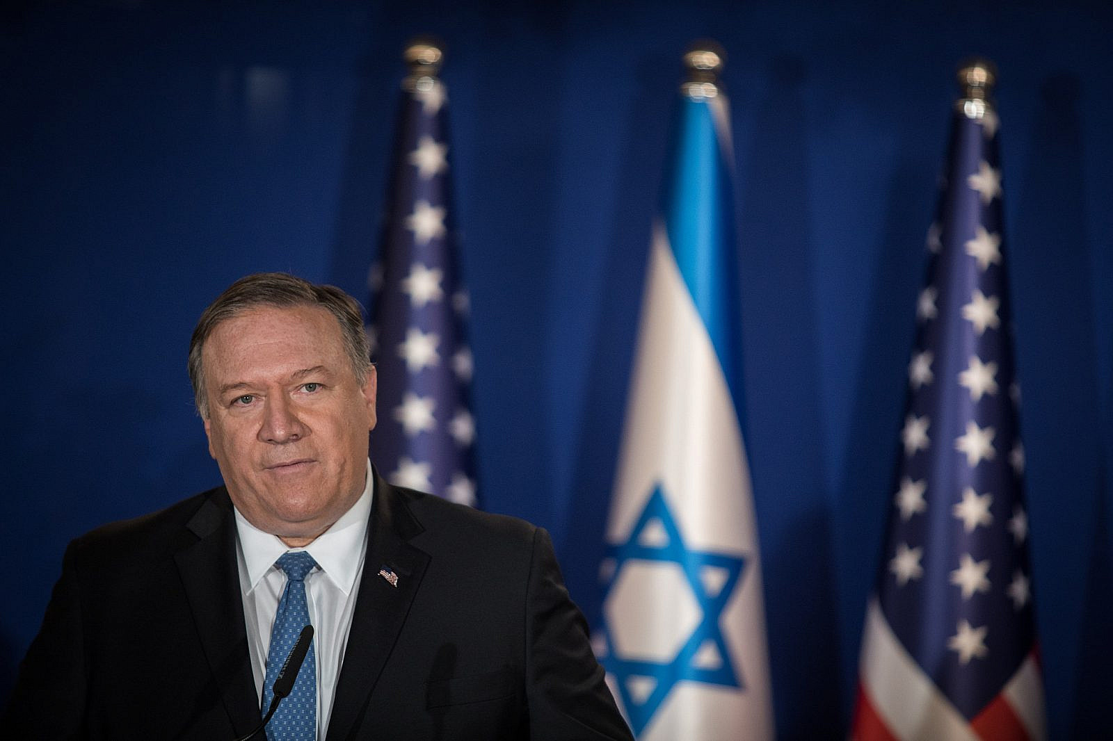 U.S. Secretary of State Mike Pompeo delivers joint statement at the residence of Israeli Prime Minister Benjamin Netanyahu in Jerusalem on March 20, 2019. (Hadas Parush/Flash90)