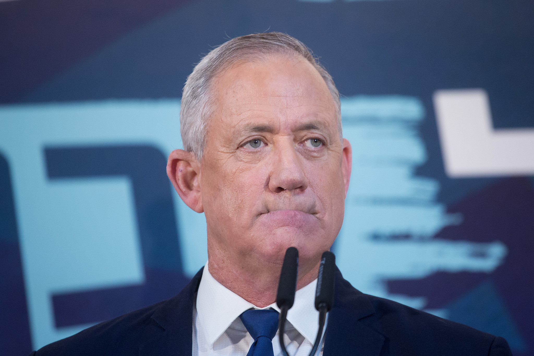 Blue and White chairperson Benny Gantz delivers a statement to the press in Tel Aviv, on November 23, 2019. (Miriam Alster/Flash90