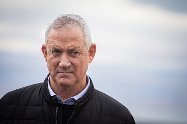 Blue and White party leader Benny Gantz seen during a visit in the settlement of Vered Yeriho, in the Jordan Valley, January 21, 2020. (Hadas Parush/Flash90)