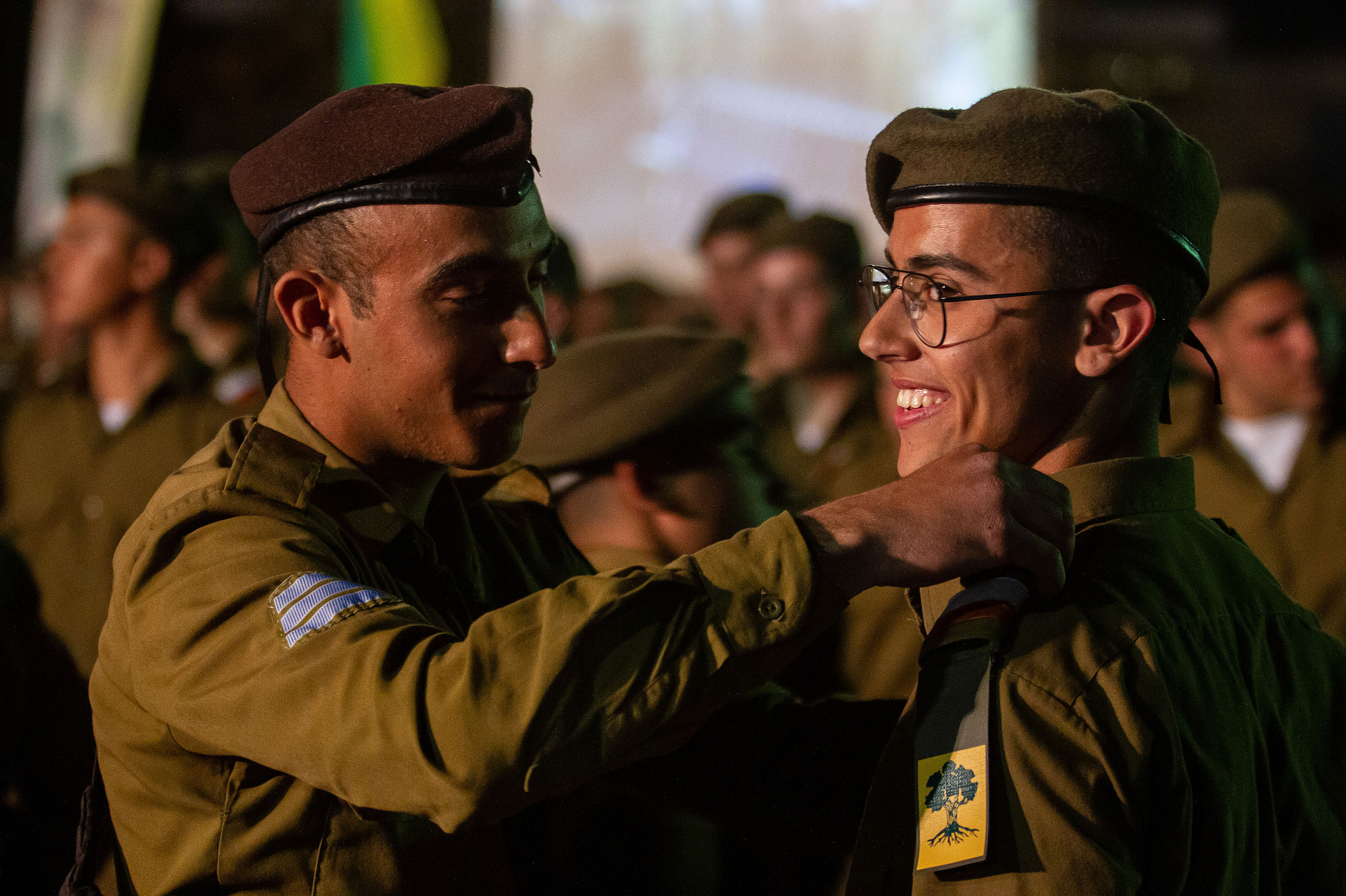 Soldiers in the Golani Brigade, an infantry unit with a high proportion of Mizrahim, attend their swearing-in ceremony at the Divisional Training Base near Kfar Kara, on February 6, 2020. (Flash90)