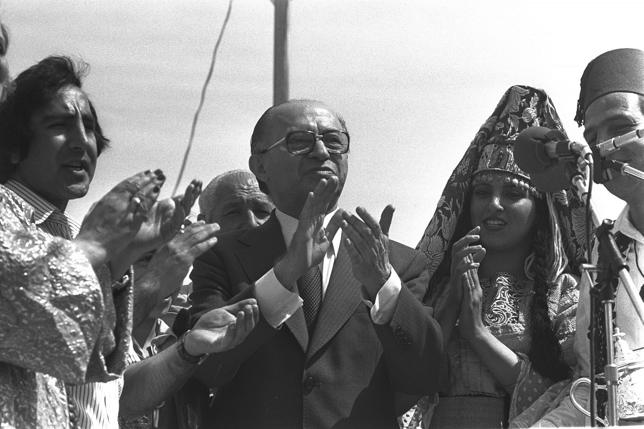 Israeli Prime Minister Menachem Begin at Mimouna celebrations in Jerusalem, April 19, 1979. (Herman Chanania/GPO)