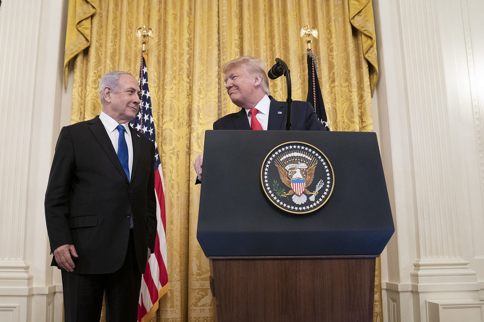 President Donald Trump delivers remarks with Israeli Prime Minister Benjamin Netanyahu in the East Room of the White House to unveil the Trump administration's Middle East Peace Plan. Jan. 28, 2020. (Official White House Photo/Shealah Craighead)