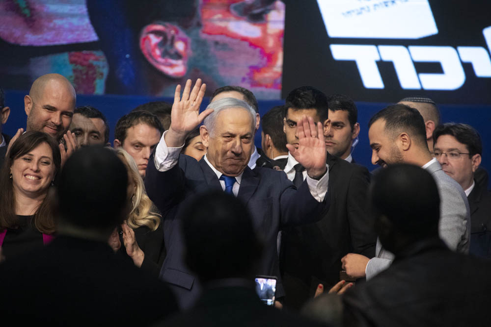Prime Minister Benjamin Netanyahu on the night of the Israeli elections, at the party headquarters in Tel Aviv, March 3, 2020. (Oren Ziv)