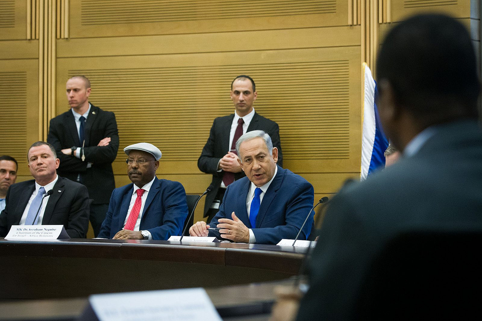 Israeli Prime Minister Benjamin Netanyahu attends a conference on Israeli-African relations, organized by Likud parliament member Avraham Negusie, at the Israeli parliament on February 29, 2016. (Miriam Alster/FLASH90)