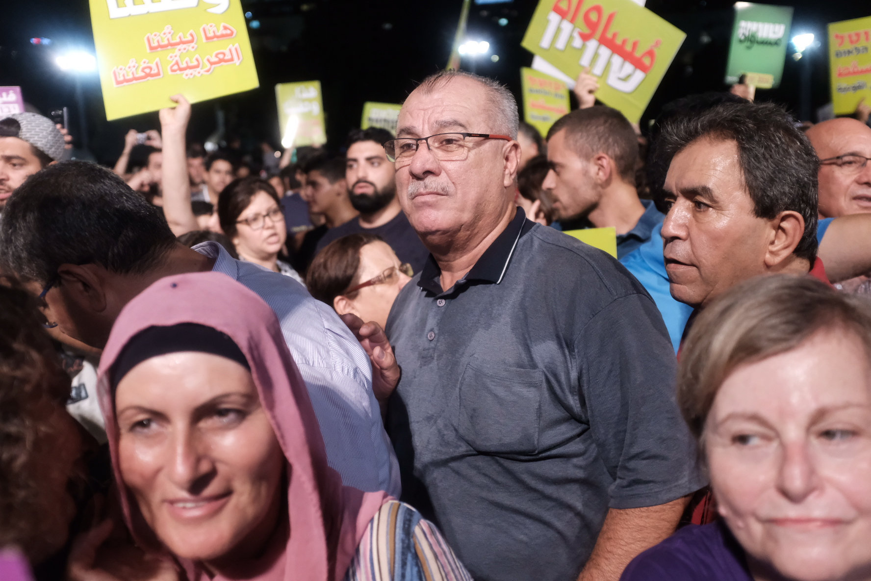 Mohammad Barakeh attends a protest against the Jewish Nation-State law in Tel Aviv on August 11, 2018. (Tomer Neuberg/Flash90)