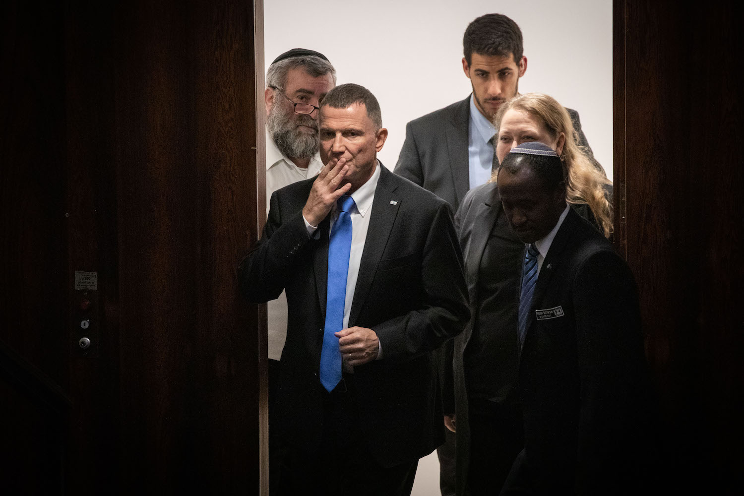 Speaker of the Knesset Yuli Edelstein seen during a vote on a bill to dissolve the parliament, December 11, 2019. (Hadas Parush/Flash90)