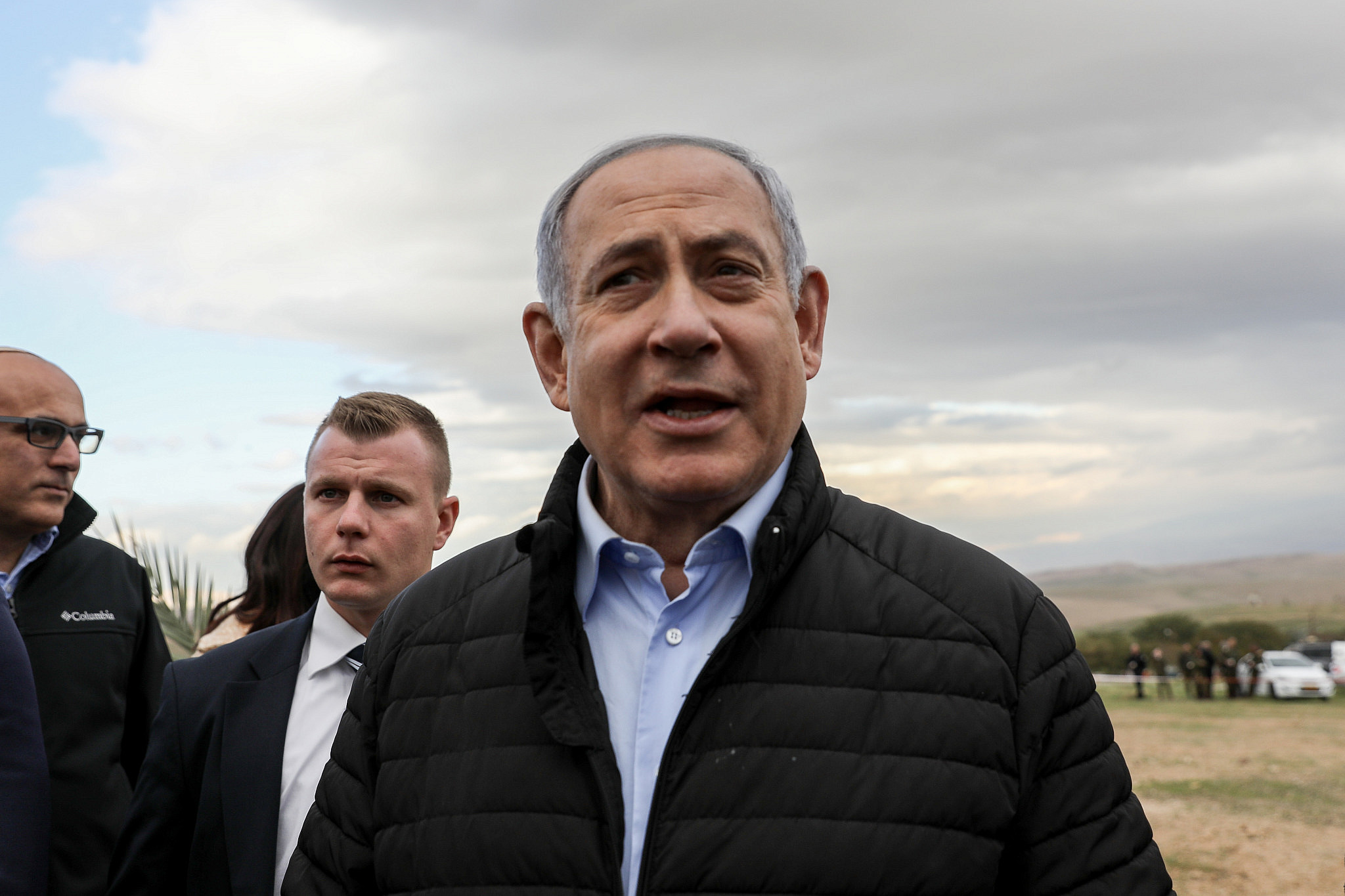 Israeli Prime Minister Benjamin Netanyahu seen during a tree planting event for the Jewish holiday of Tu Bishvat, in the West Bank settlement of Mevo'ot Yericho, in the Jordan Valley, February 10, 2020. (Flash90)