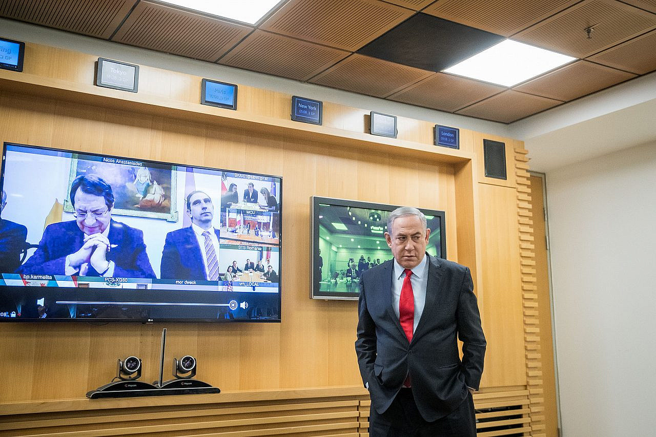 Prime Minister Benjamin Netanyahu holds a video conference with European Leaders in order to discuss challenges and cooperation between countries in dealing with the coronavirus COVID-19, at the Foreign Ministry in Jerusalem, March 9, 2020. (Yonatan Sindel/Flash90)