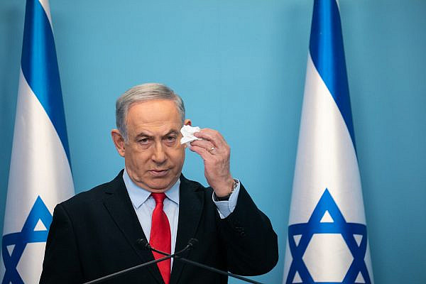 Israeli Prime Minister Benjamin Netanyahu announces emergency directives during a press conference at the Prime Ministers Office in Jerusalem, March 12, 2020. (Olivier Fitoussi/Flash90)