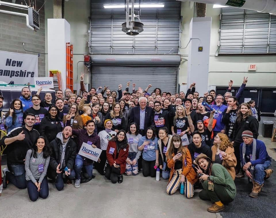 Bernie Sanders campaign event at New Hampshire in February 2020, with writer Nooran Alhamdan present (Photo courtesy of Nooran Alhamdan)