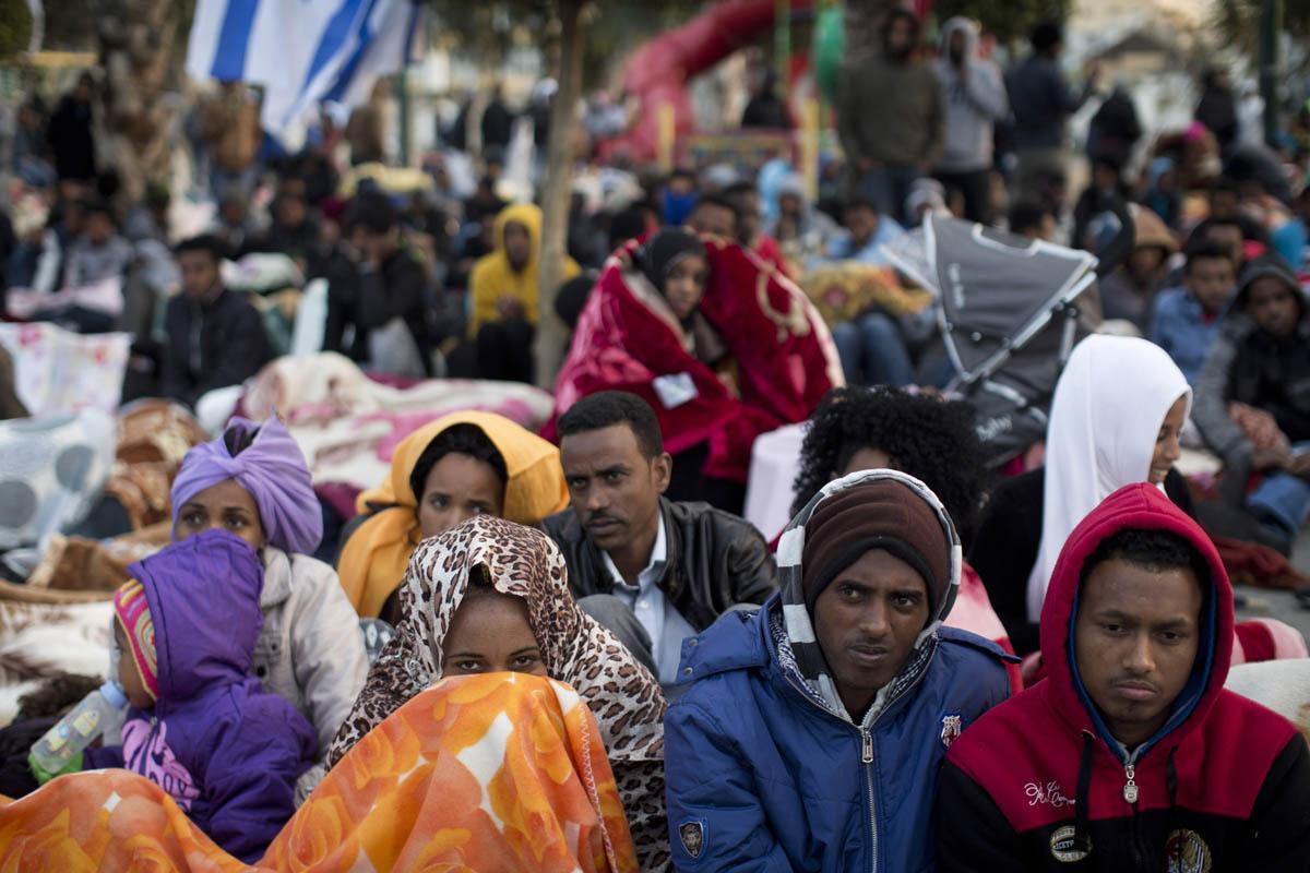 African asylum seekers seen in Levinsky Park, Tel Aviv, during a protest against the Holot detention center, February 3, 2014. (Oren Ziv)