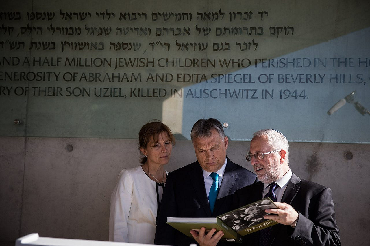 Hungarian Prime Minister Viktor Orbán tours the Yad Vashem Holocaust Memorial Museum, Jerusalem, July 19, 2018. (Hadas Parush/Flash90)
