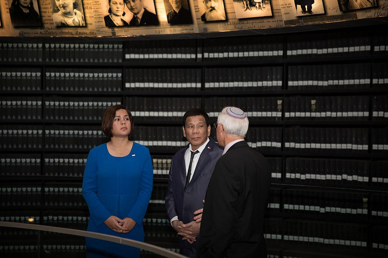 President of the Philippines Rodrigo Duterte visits the Yad Vashem Holocaust Memorial Museum, Jerusalem, September 3, 2018. (Hadas Parush/Flash90)