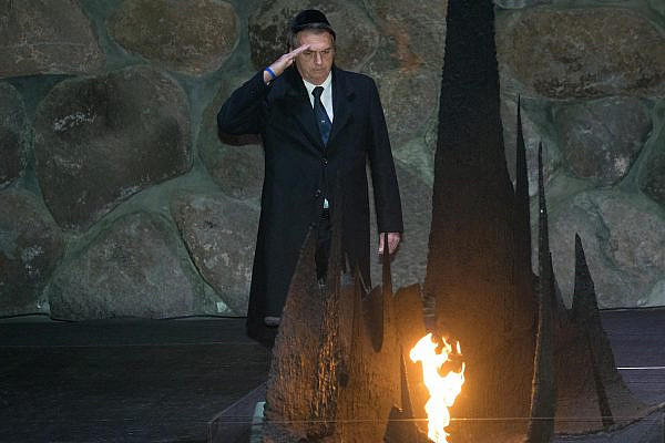 Brazilian President Jair Bolsonaro during a visit to Yad Vashem, Jerusalem, April 2, 2019. (Noam Revkin Fenton/Flash90)