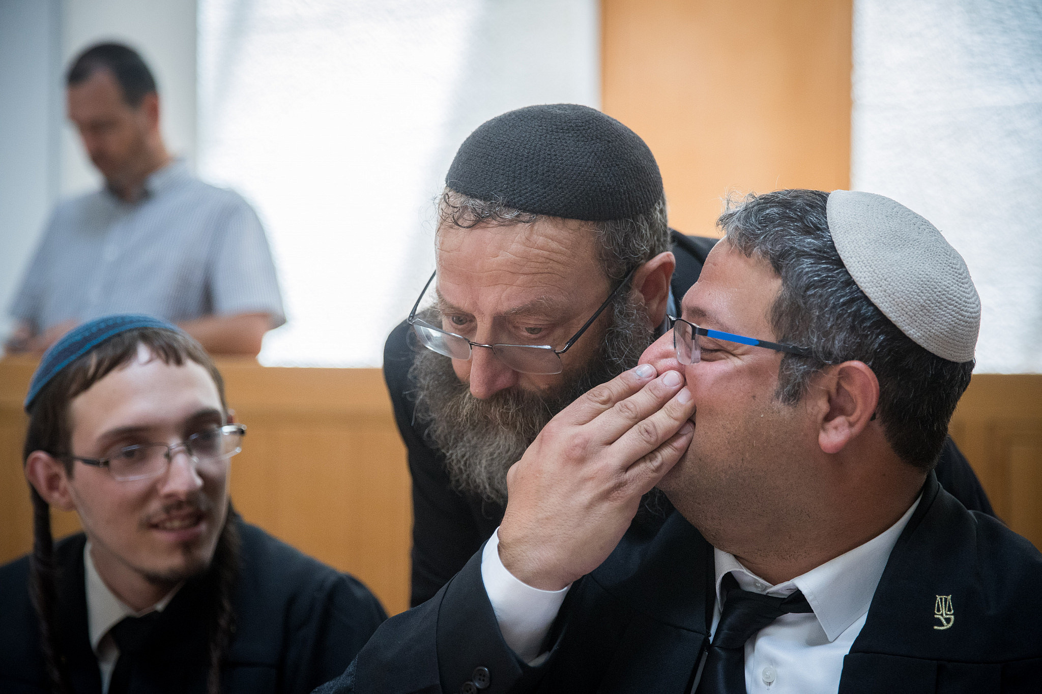 Otzma Yehudit party members Baruch Marzel and Itamar Ben-Gvir seen at a Supreme Court hearing in Jerusalem asking to disqualify the Palestinian-led Joint List party from running in the September election, August 22, 2019. (Yonatan Sindel/Flash90)
