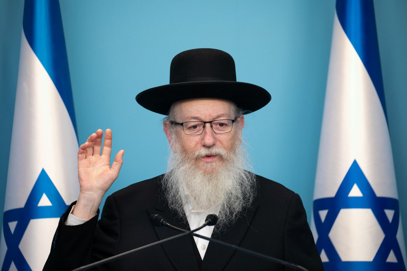 Health minister Yaakov Litzman speaks during a press conference at the Prime Ministers office in Jerusalem on March 12, 2020. (Olivier Fitoussi/Flash90)