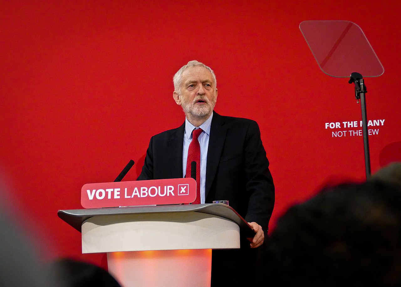 Jeremy Corbyn, former Leader of the Labour Party, speaking at the 2018 Local Elections Launch in Trafford, Greater Manchester, March 22, 2018. (Sophie Brown/via Wikimedia)