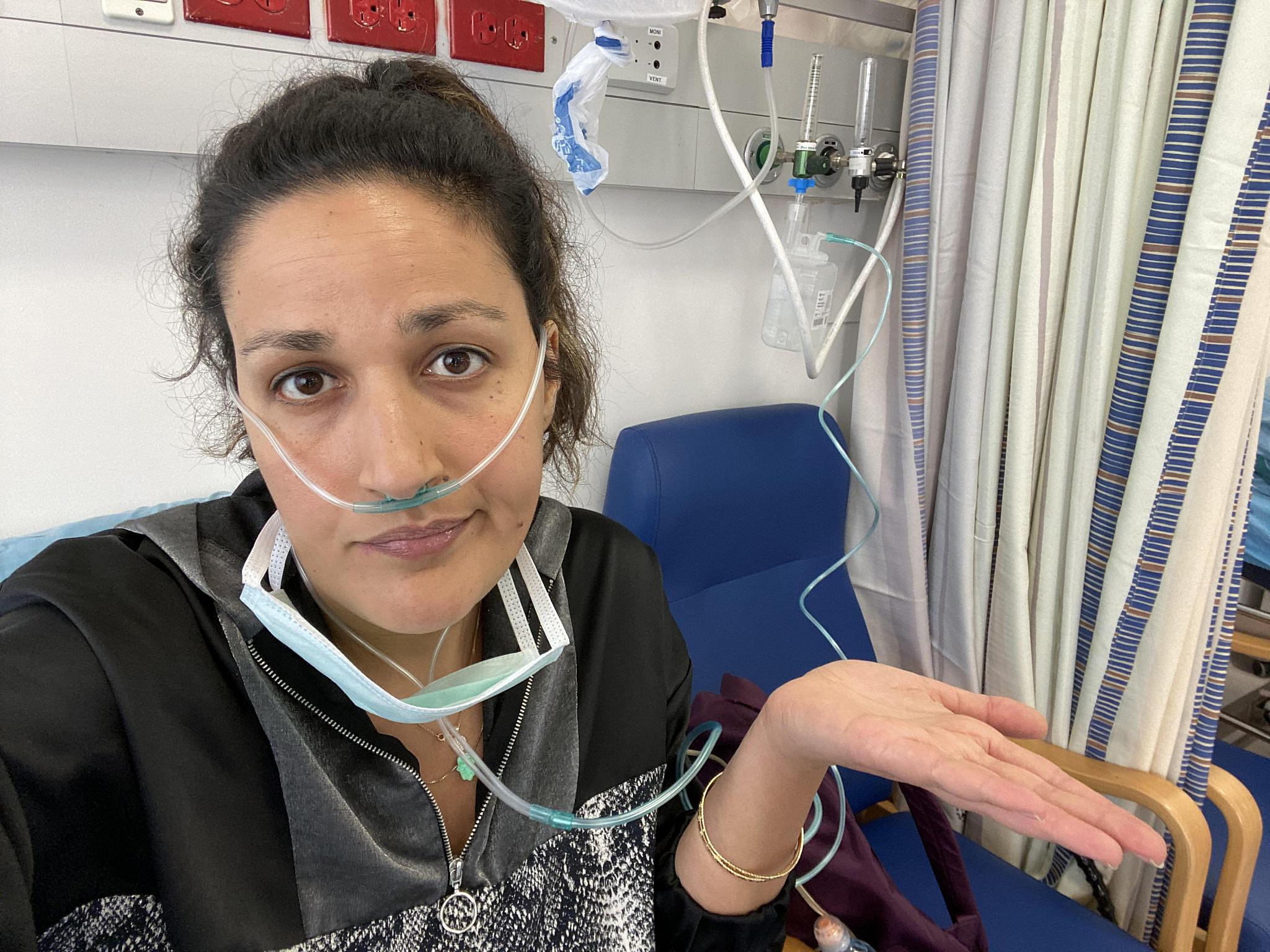 Noam Shuster at Hadassah Hospital in Jerusalem, April 11, 2020. (Courtesy of Noam Shuster)