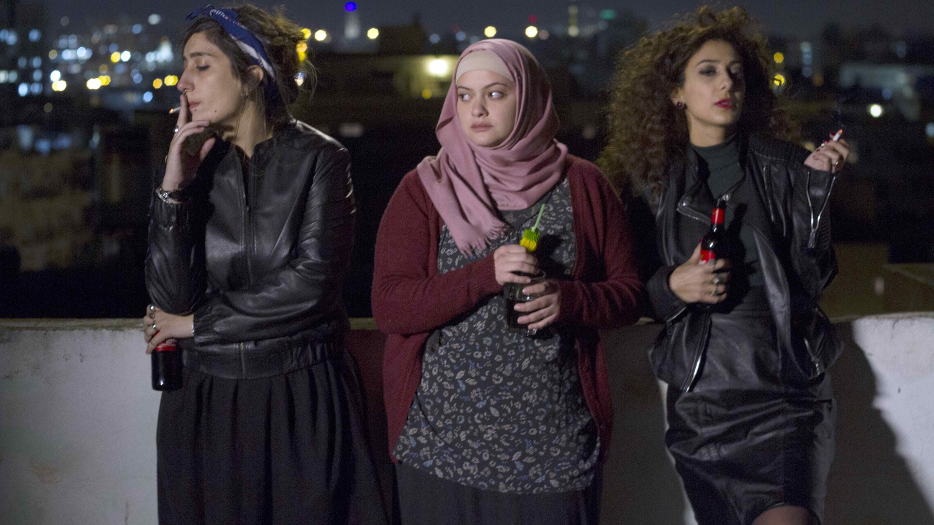 "From left, Sana Jammelieh, Shaden Kanboura and Mouna Hawa, in the film ""In Between"" by director Maysaloun Hamoud. (Film Movement)"