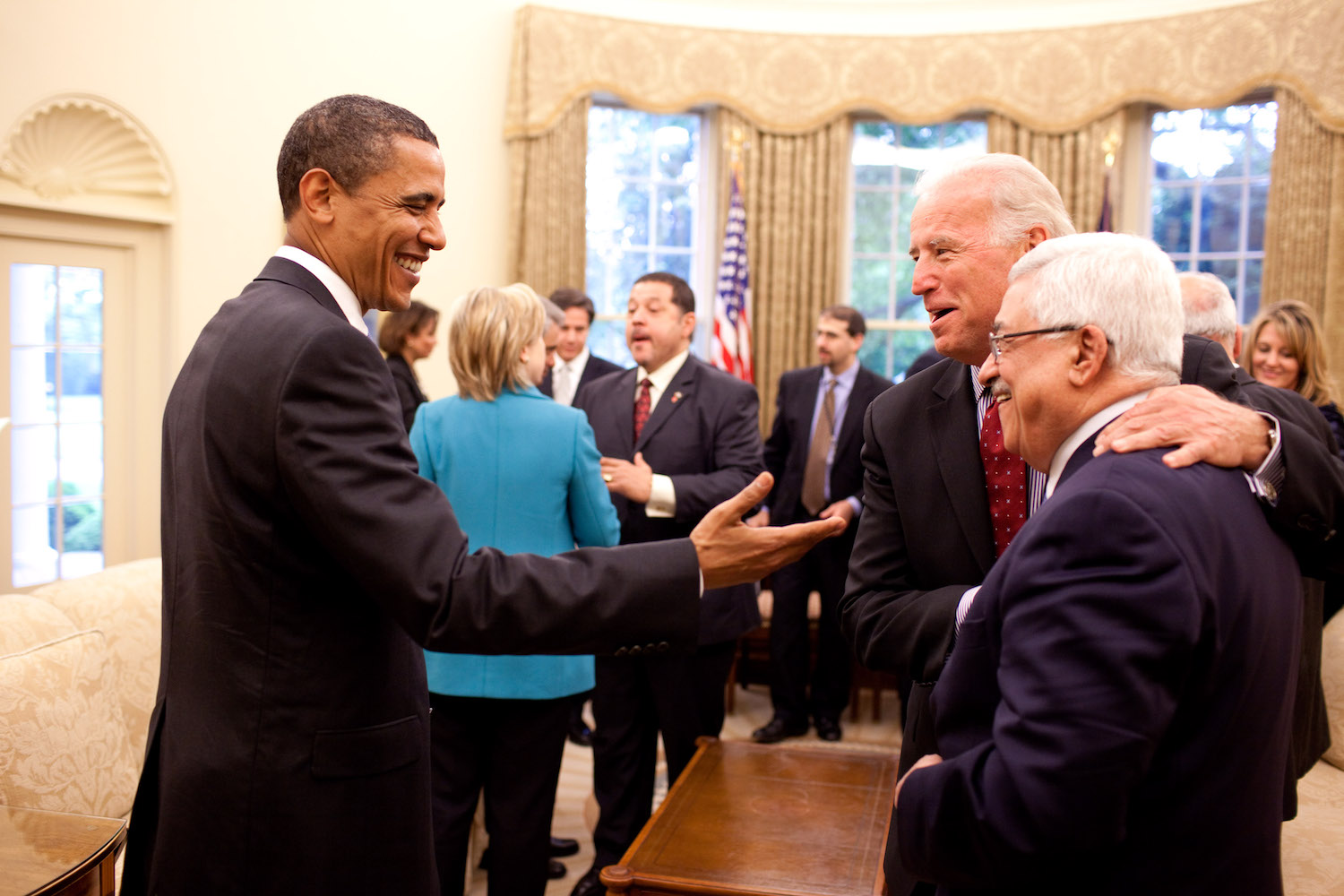 President Barack Obama and Vice President Joe Biden share a humorous moment with Palestinian Authority President Mahmoud Abbas in the Oval Office, May 28, 2009. (Official White House Photo by Pete Souza)