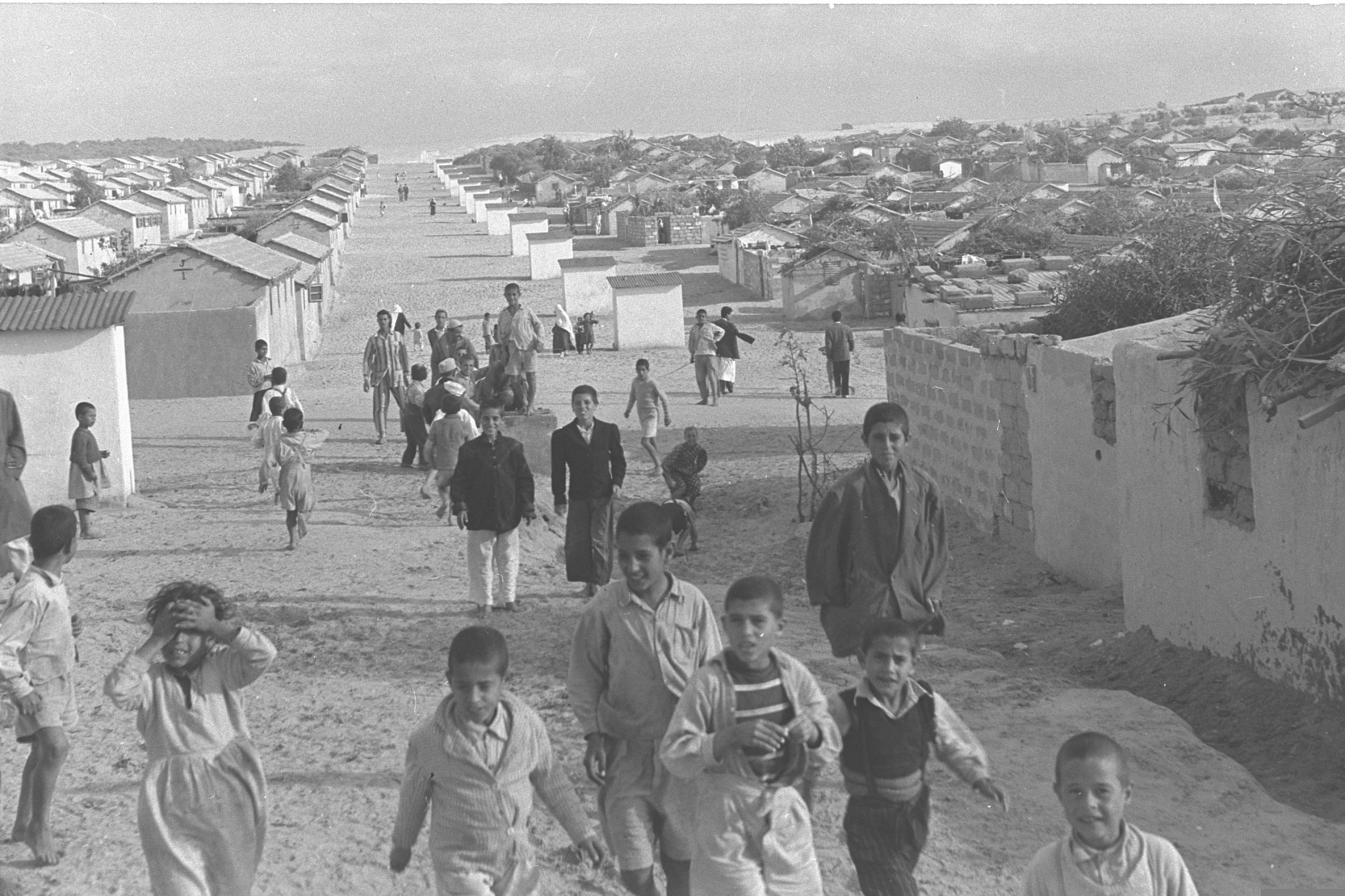 Palestinian children at a refugee camp in Gaza, November 1, 1956. (Pridan Moshe/GPO)