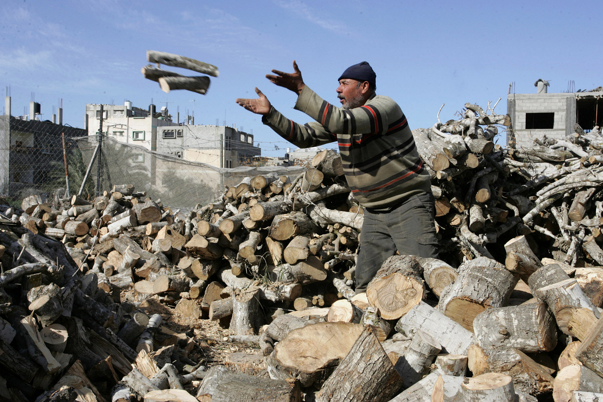 Palestinian labourers carry firewood in a yard in Khan Younis, southern Gaza Strip on January 11, 2012. (Abed Rahim Khatib/Flash 90)