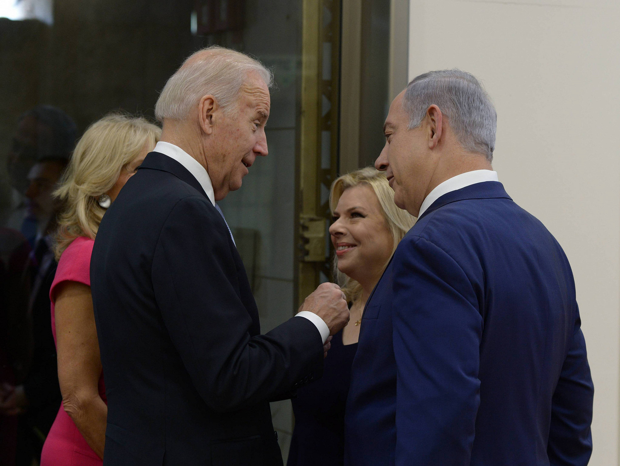 Israeli Prime Minister Benjamin Netanyahu and his wife Sara meet with United States Vice President Joe Biden and his wife Gil, at the Prime Minister's Office in Jerusalem, on March 9, 2016. (Amos Ben Gershom/GPO)