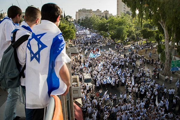 Jewish men celebrate Jerusalem Day in Jerusalem, marking the 52nd anniversary of Israel's capture of Arab East Jerusalem in the Six Day War of 1967. June 2, 2019. (Yonatan Sindel/Flash90)