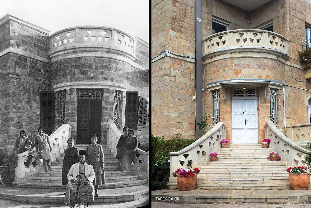 Two decades after building this house in Jerusalem's Talbiya neighborhood and posing for a photo with his family, Shukri Al Jamal was expelled from his home during the Nakba, along with the rest of the neighborhood's Palestinian residents. The home is now populated by Jewish Israelis. (Courtesy of Tarek Bakri)