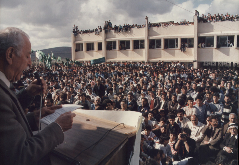 Tawfik Toubi, the Deputy-Secretary of the Hadash party, delivers a speech during a rally marking Land Day in the city of Sakhnin, March 30, 1988.
