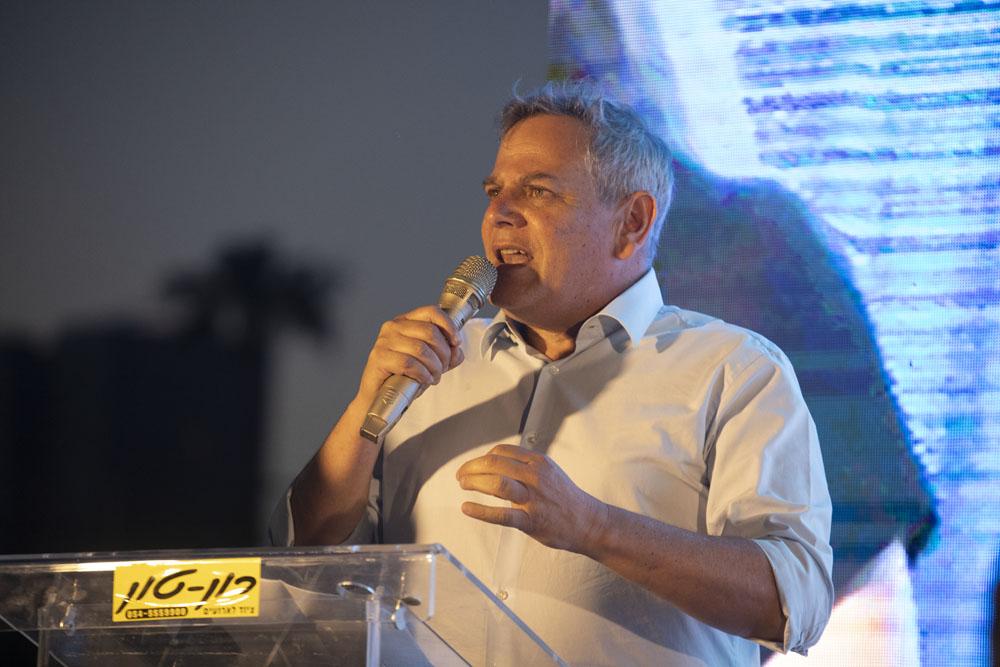 Meretz Chairman Nitzan Horowitz speaks during a rally in Tel Aviv against the Israeli government's annexation plans, June 6, 2020. (Oren Ziv)