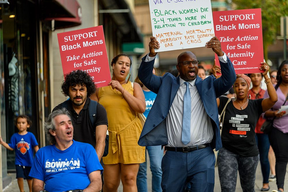 Jamaal Bowman, the new Democratic candidate for New York's 16th Congressional District, at a protest demanding safer maternity care for Black women. (Courtesy of Bowman for Congress)