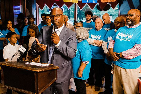 Democratic primary challenger Jamaal Bowman speaks to supporters at his campaign launch in the Bronx, New York, June 18, 2019. (Corey Torpie)